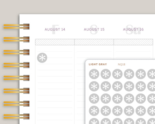 Grey Asterisk Circle Planner Stickers NQ18