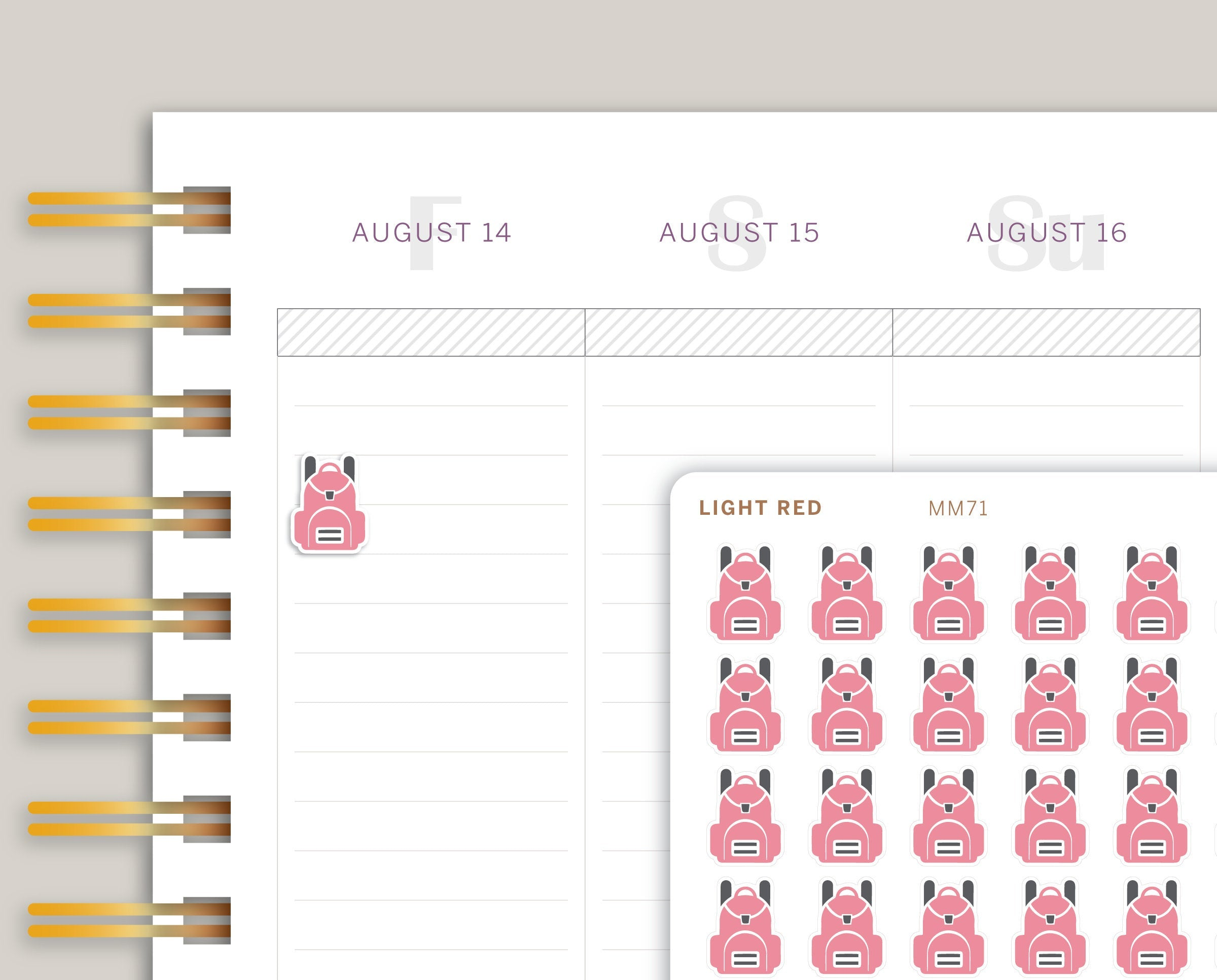 Backpack Icon Planner Stickers for Makse Life Planner MM71