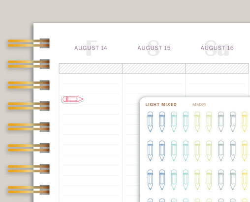 Mini Pencil Icon Planner Stickers for Makse Life Planner MM89