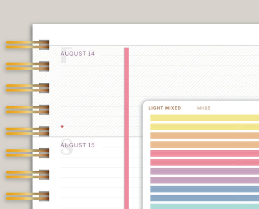 SOLID Full Length Horizontal Divider Stickers for Makse Life Planner MH85