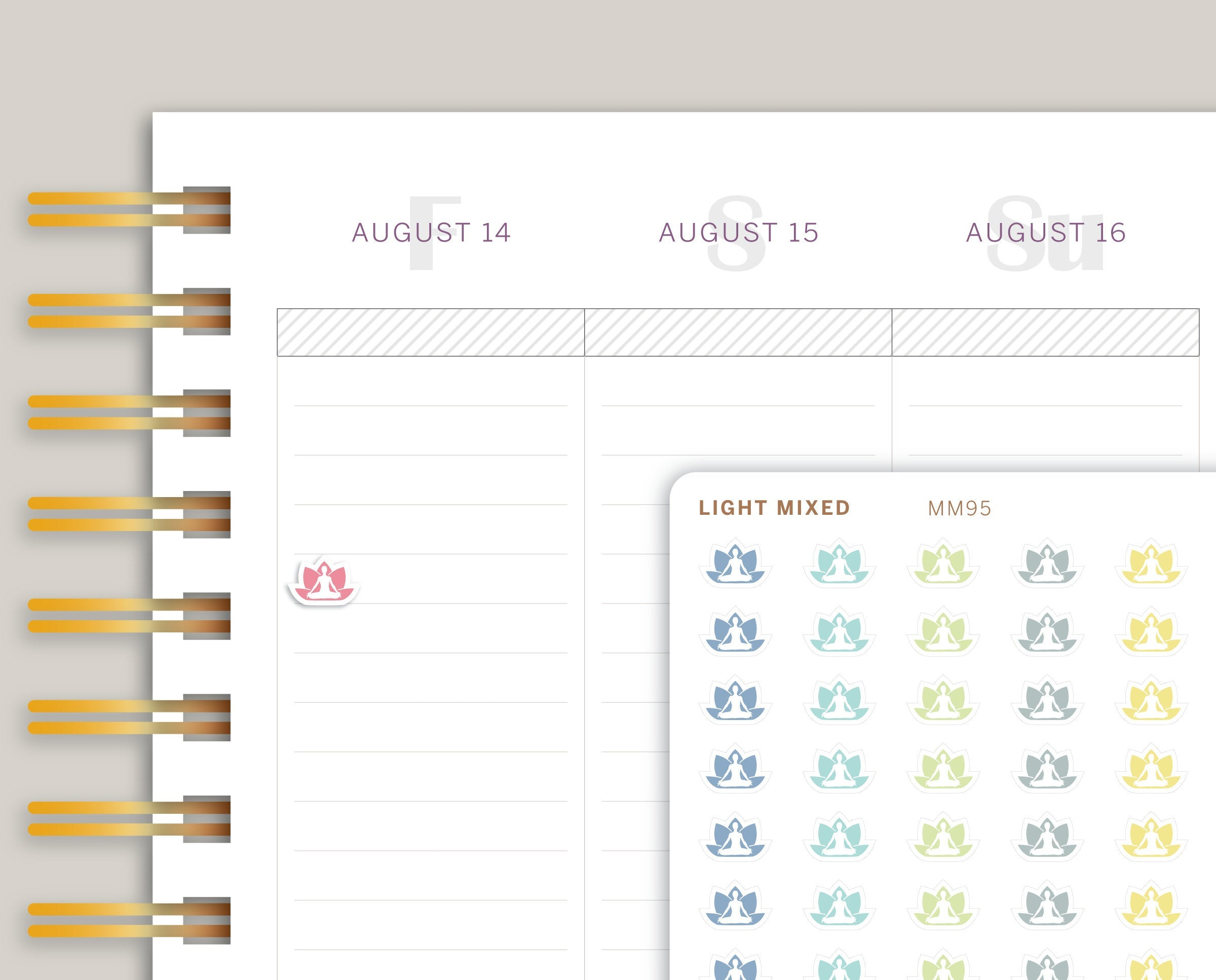 Mini Yoga Icon Planner Stickers for Makse Life Planner MM95