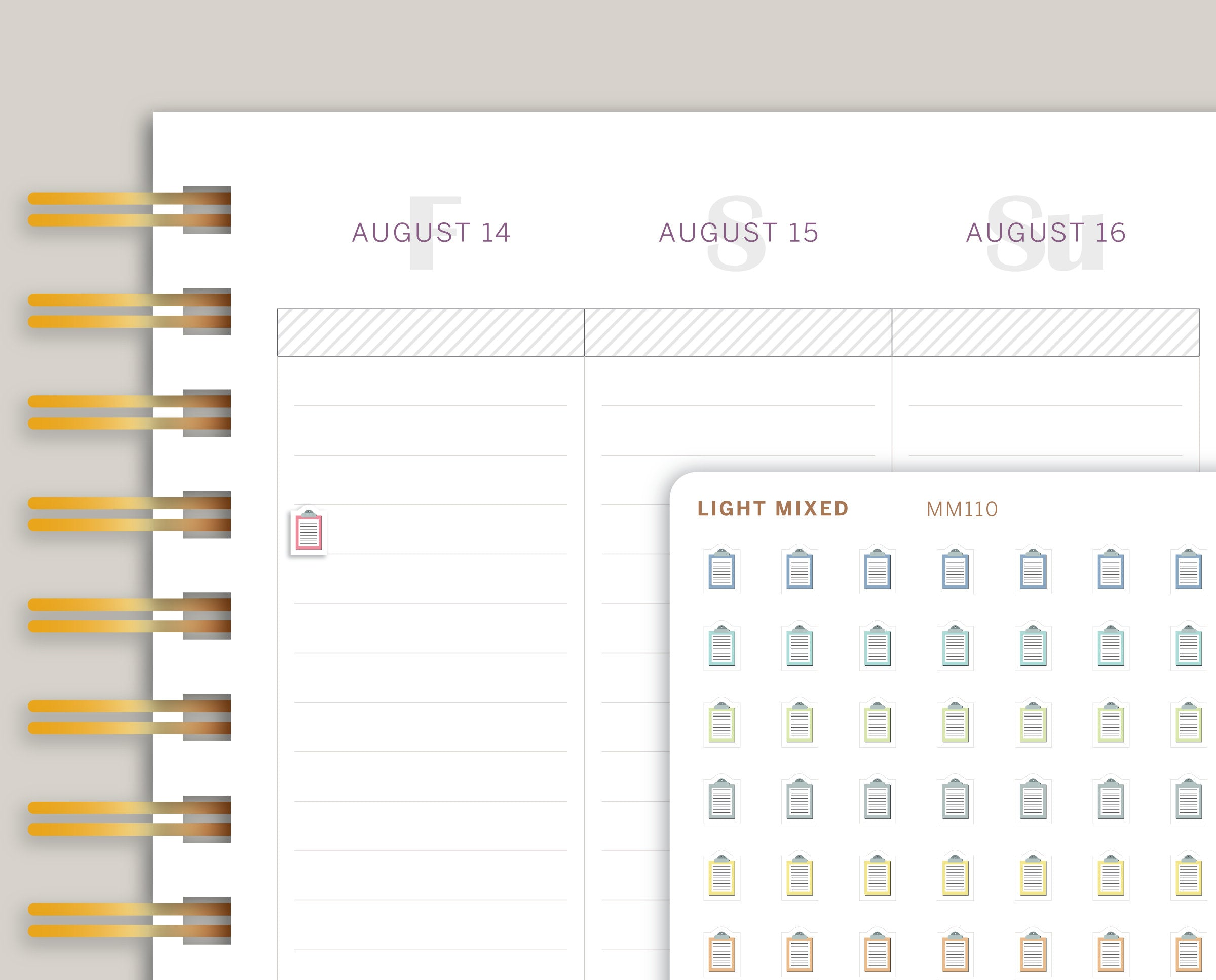 Mini Clipboard Icon Planner Stickers for Makse Life Planner MM110