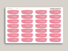 Brush Style Day of the Week Stickers for MakseLife Planners MH90