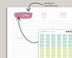 Brush Style Day of the Week Date Planners Stickers for 2020 inkWELL Press Planners IWP-RM186