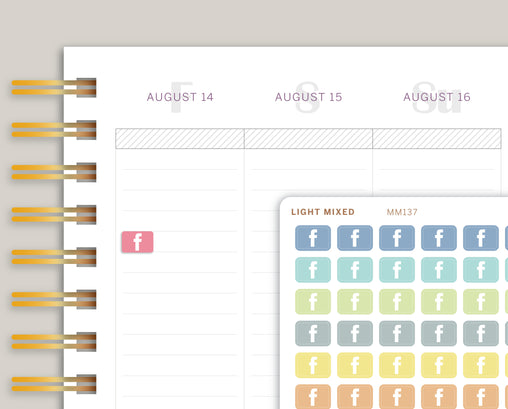 Mini Facebook Icon Planner Stickers for Makse Life Planner MM137