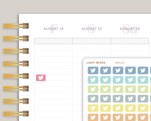 Mini Twitter Icon Planner Stickers for Makse Life Planner MM139