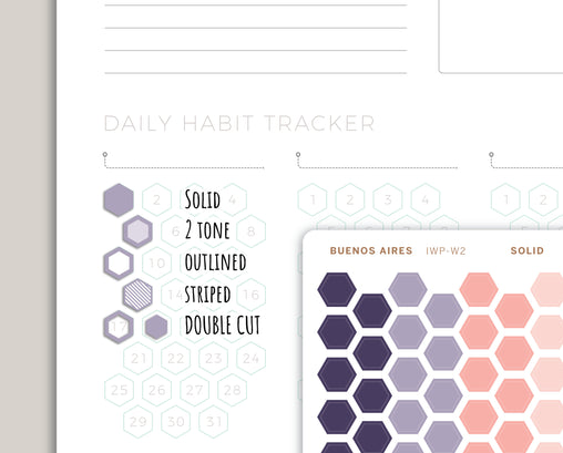 Habit Tracker Hexagons Stickers for 2021 inkWELL Press Planners IWP-W2