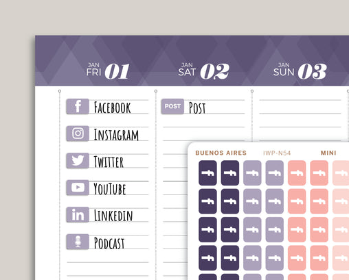 Social Media Icon Planner Stickers for 2021 inkWELL Press IWP-N54