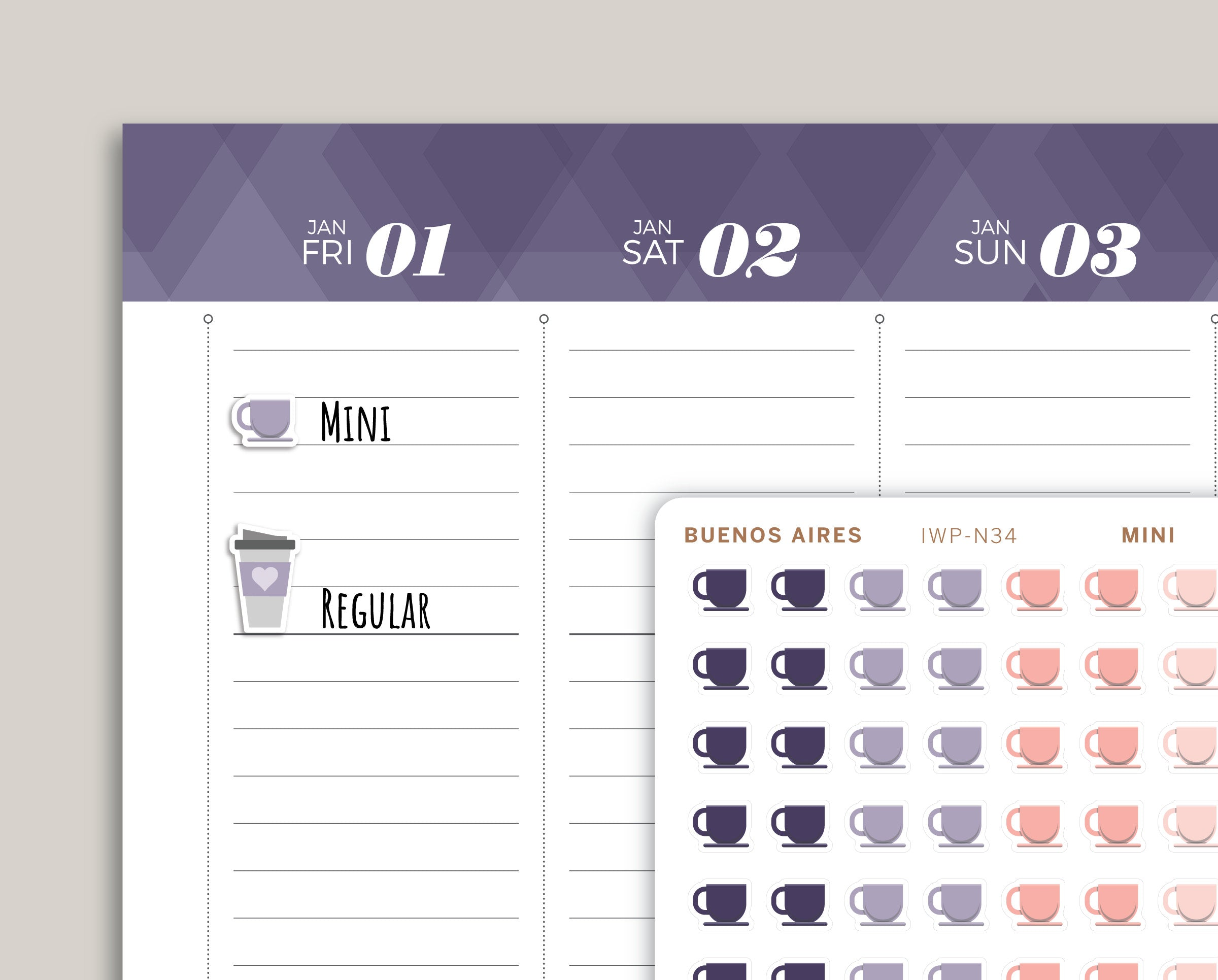 Coffee Icon Planner Stickers for 2021 inkWELL Press Planners IWP-N34