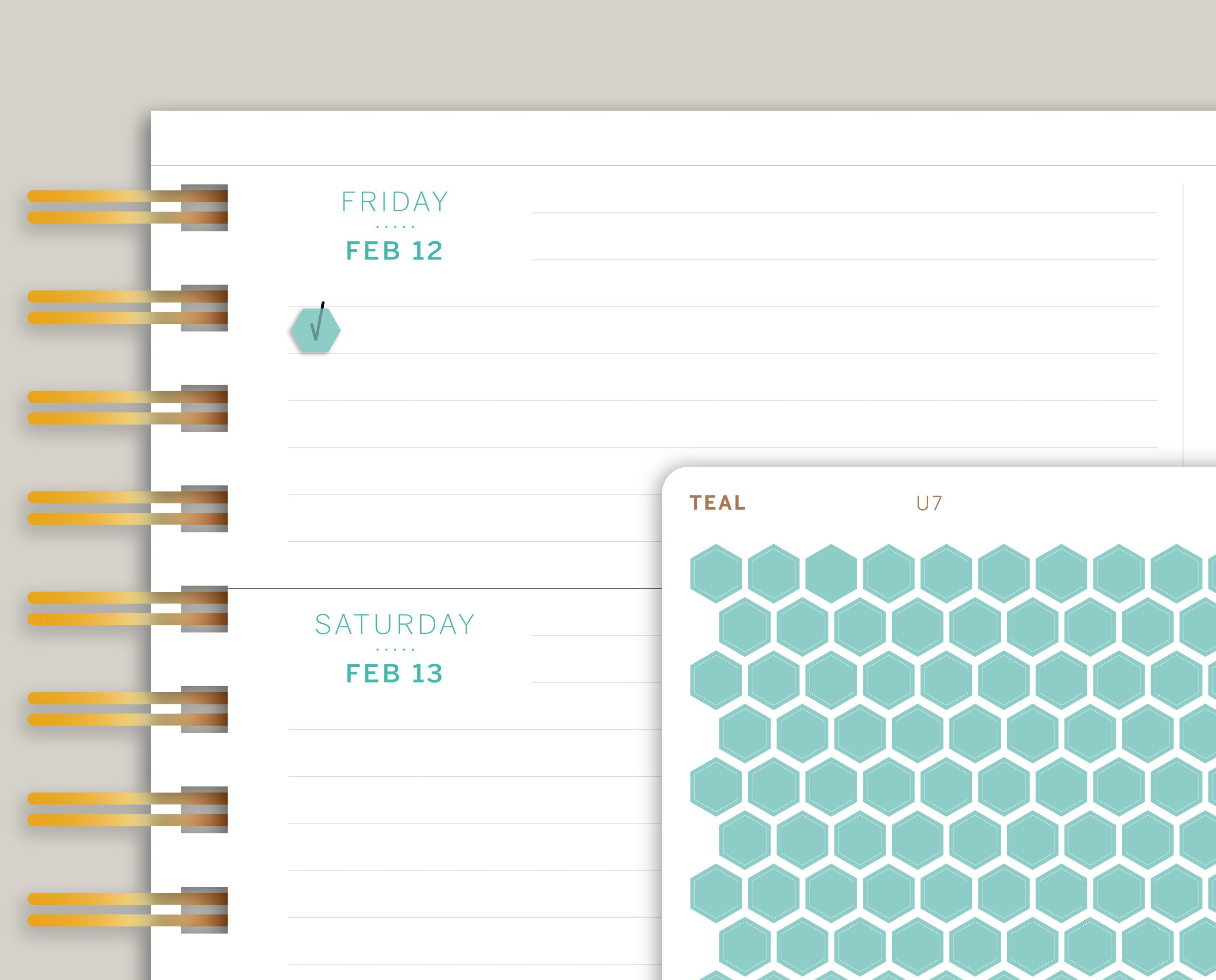 Matte Transparent Mini Hexagons Stickers for 2021 Makse Life Planner U7