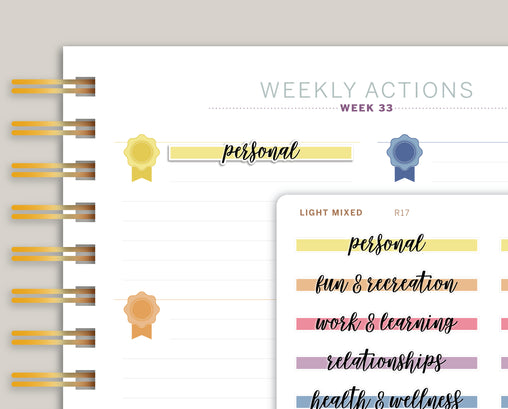 Goal Label Highlight Header Stickers for MakseLife Planners R17