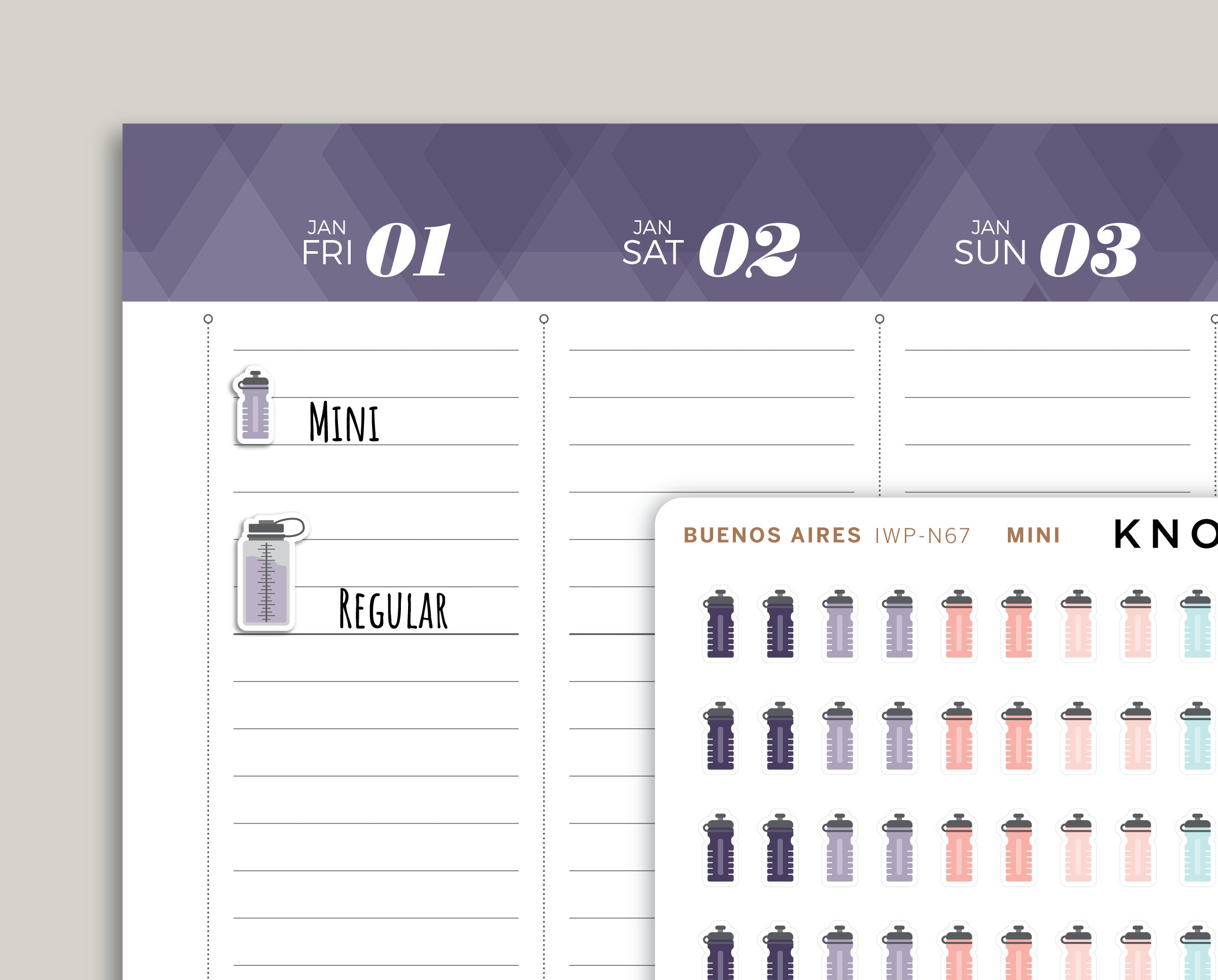 Water Bottle Planner Stickers for 2021 inkWELL Press Planners IWP-N67