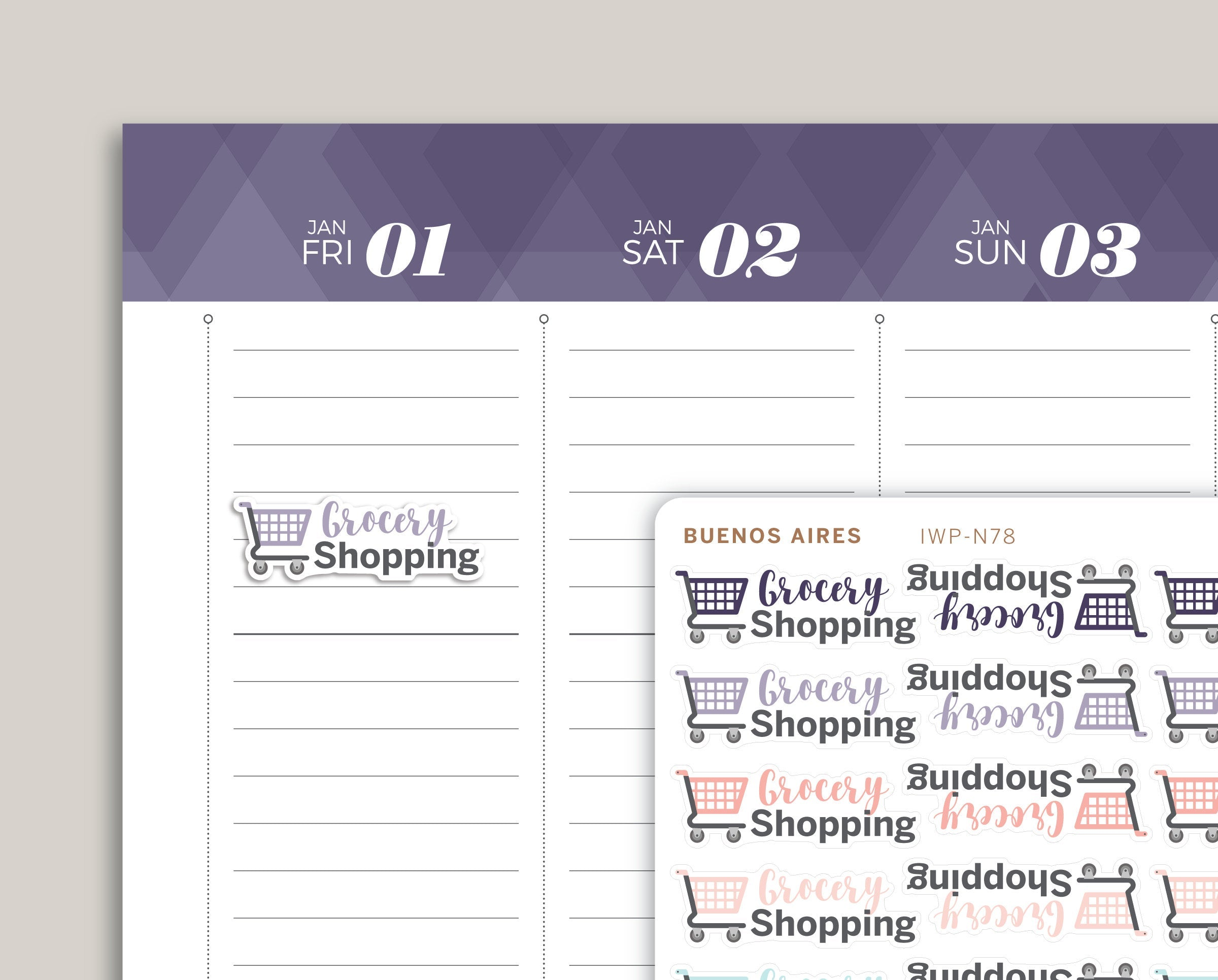 Grocery Shopping Icon Planner Stickers for 2021 inkWELL Press Planners IWP-N78