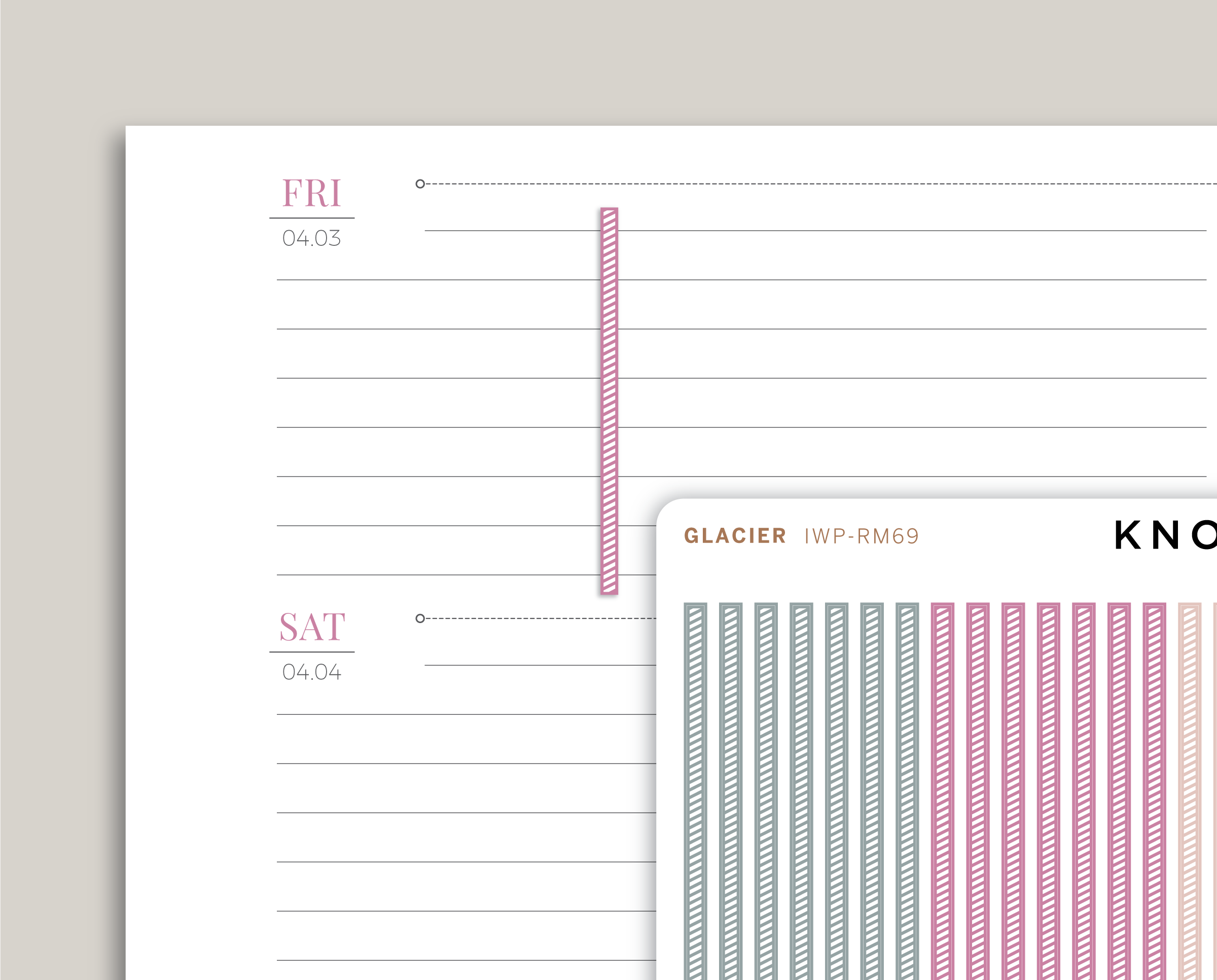 Striped Divider FLEX Stickers for 2020 inkWELL Press Planners IWP-RM69
