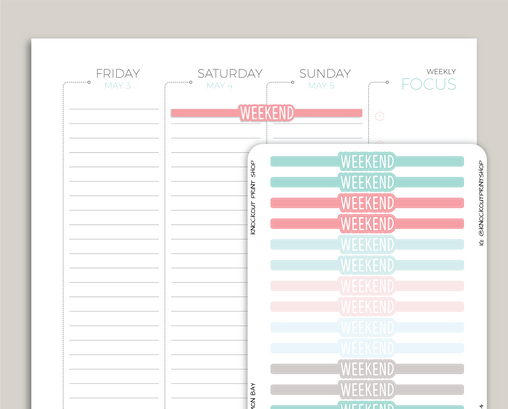 CLASSIC Weekend Bubble Header Stickers for 2019 inkWELL Press Planners IWP-T64