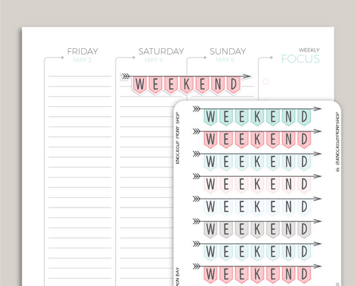 CLASSIC Striped Weekend Banner Stickers for 2019 inkWELL Press Planners IWP-T90