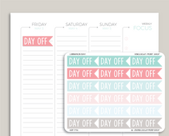 Day Off Flag Planner Stickers for 2019 inkWELL Press Planners IWP-T94