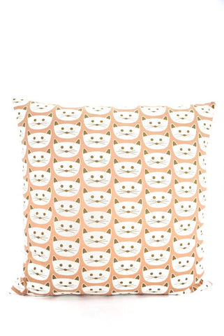 Square Cushion in Cats on Blush