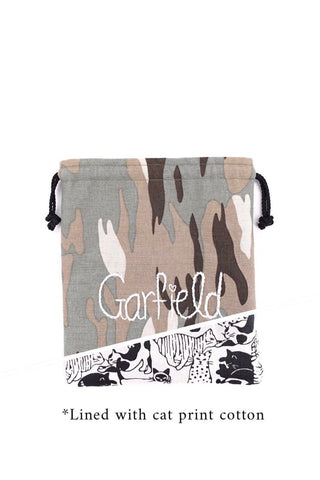 Drawstring Pouch in Camo on Green