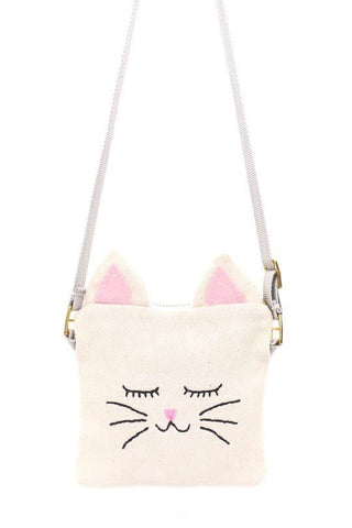 Crossbody Bag with Hand Embroidered Cat