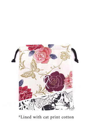 Drawstring Pouch in Flowers on White