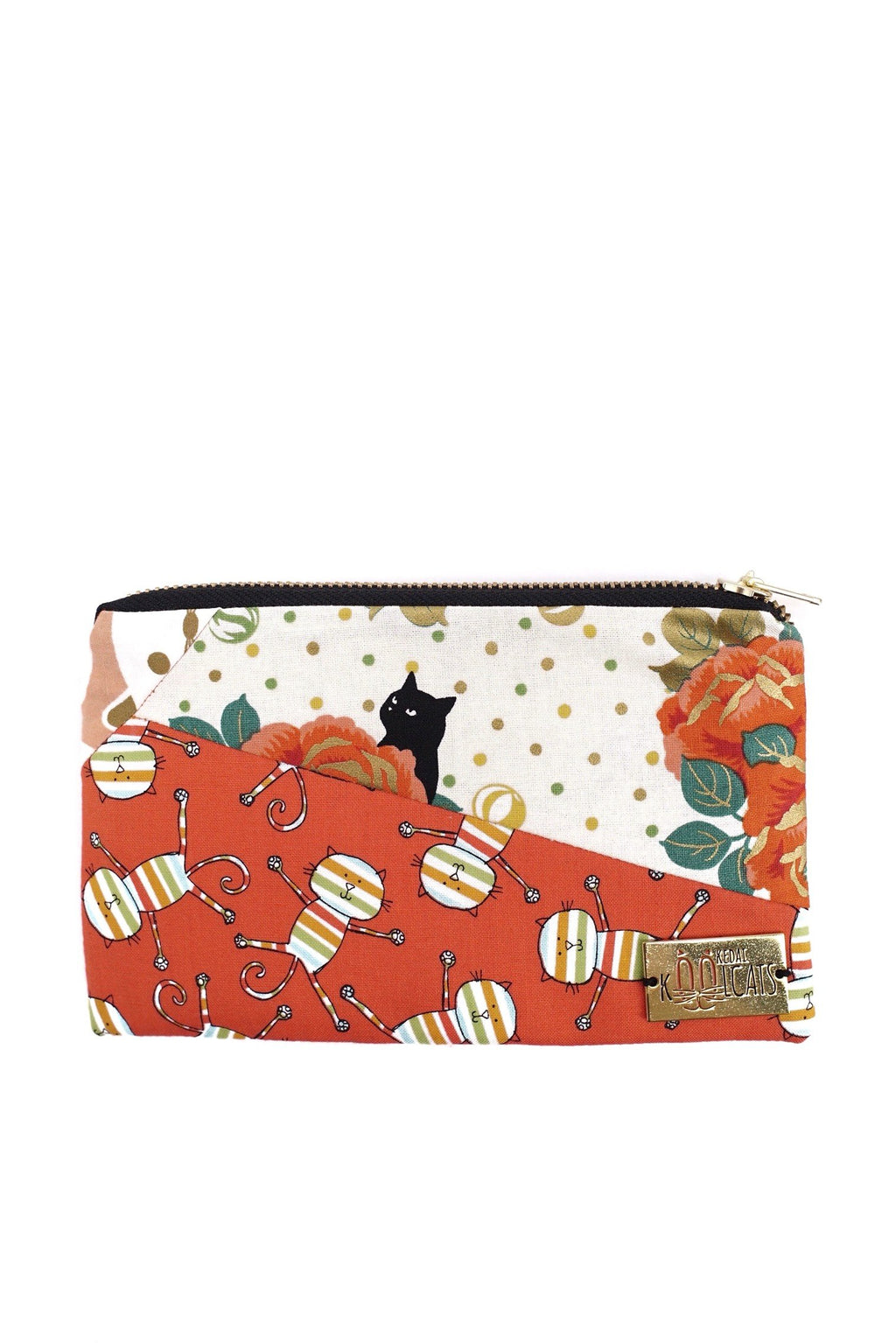 Patchwork Pouch in Orange Cats