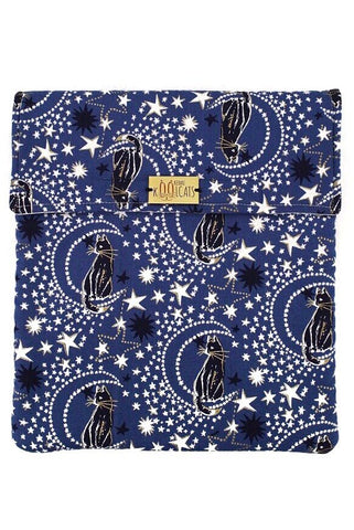Flap Pouch in Cats and Stars on Blue