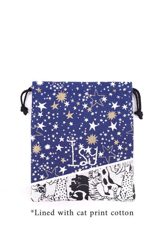 Drawstring Pouch in Stars on Blue