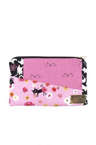 Patchwork Pouch in Pink Cats