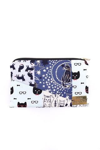 Patchwork Pouch in Blue Cats
