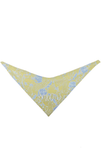 Cat Collar Bandana in Blue/Yellow Cats with Hand Embroidered Meow