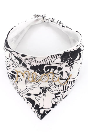 Cat Collar Bandana in Black/White Cats with Hand Embroidered Meow