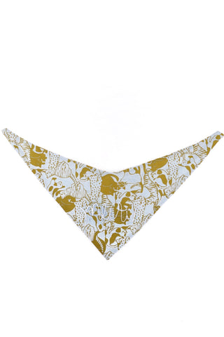 Cat Collar Bandana in Gold/Blue Cats with Hand Embroidered Meow