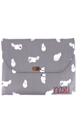 Laptop Flap Pouch in White Persian Cat Print on Gray Fabric