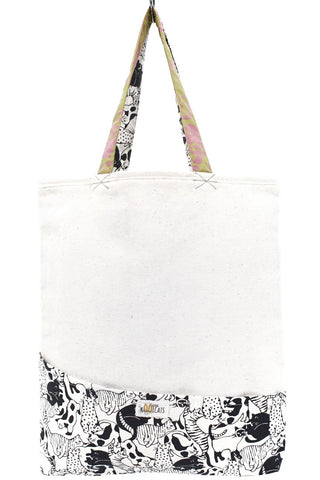 Tote Bag in Black-White and Pink-Green Cats