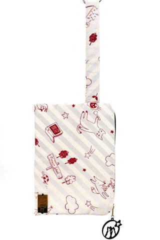 Wristlet in Red Cats on Gray Stripes