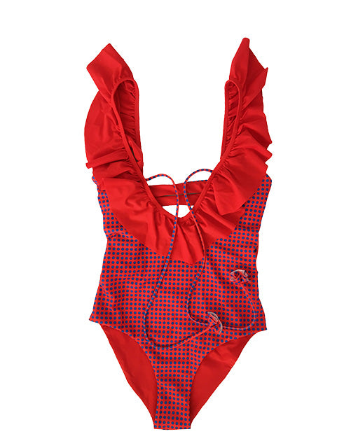 ARGUS RED RUFFLE SWIMSUIT