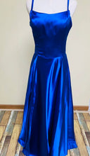 Load image into Gallery viewer, Chic prom dress long sleeve a-line party dress v-neck blue tulle cheap evening dress