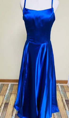Chic prom dress long sleeve a-line party dress v-neck blue tulle cheap evening dress
