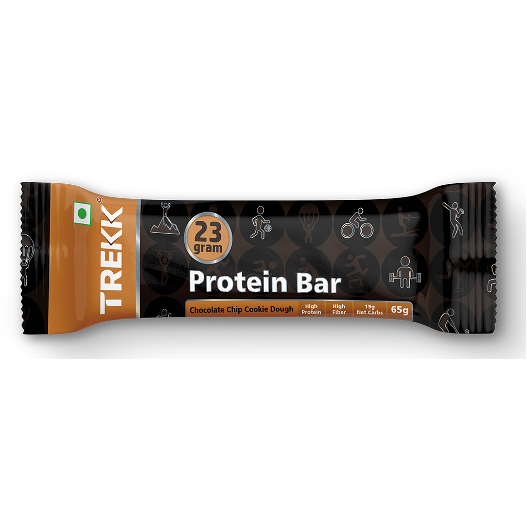 Chocolate Chip Cookie Dough Protein Bar 65g - 23g Protein, 4g Fiber - Pack of 6 Bars