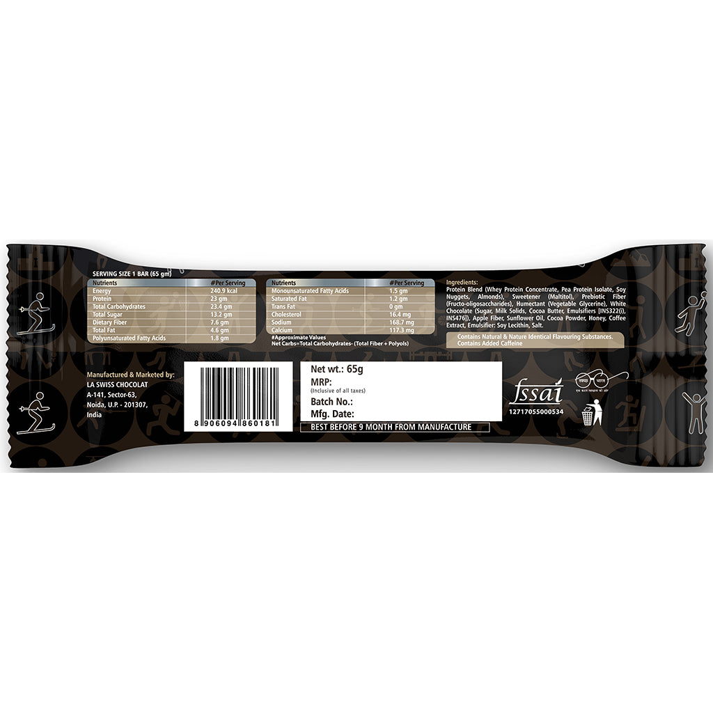 Roasted Coffee Protein Bar 65g - 23g Protein, 7g Fiber - Pack of 6 Bars