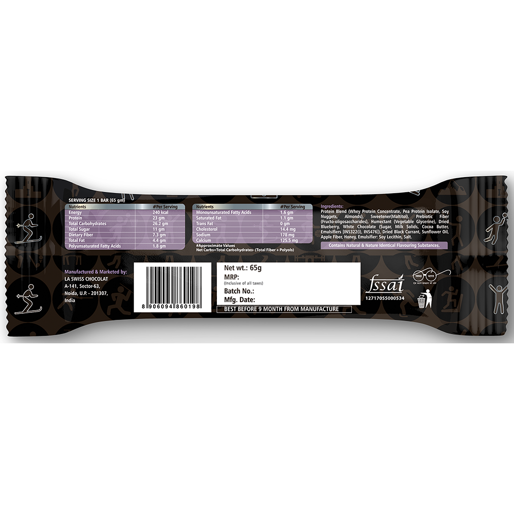 Blueberry Cheesecake Protein Bar 65g - 23g Protein, 7g Fiber - Pack of 6 Bars