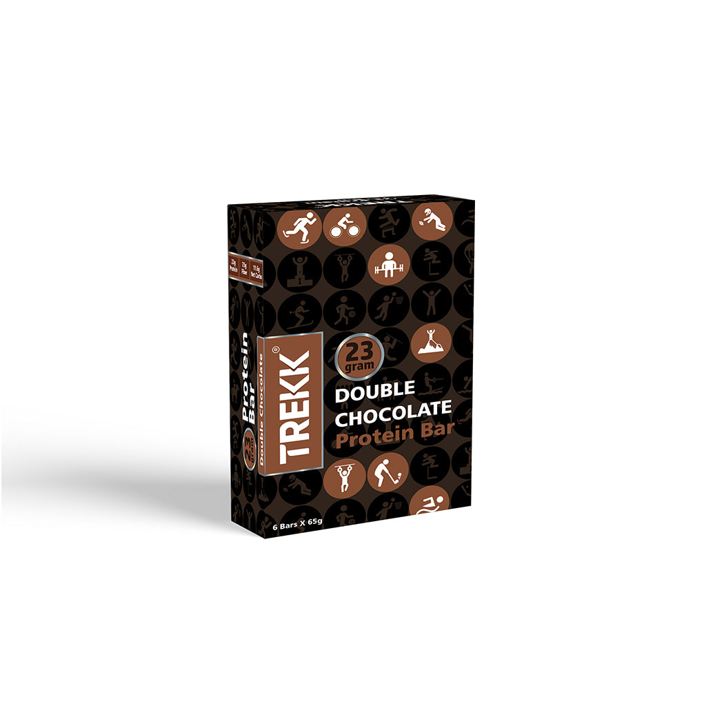 Double Chocolate Protein Bar 65g - 23g Protein, 7g Fiber - Pack of 6 Bars