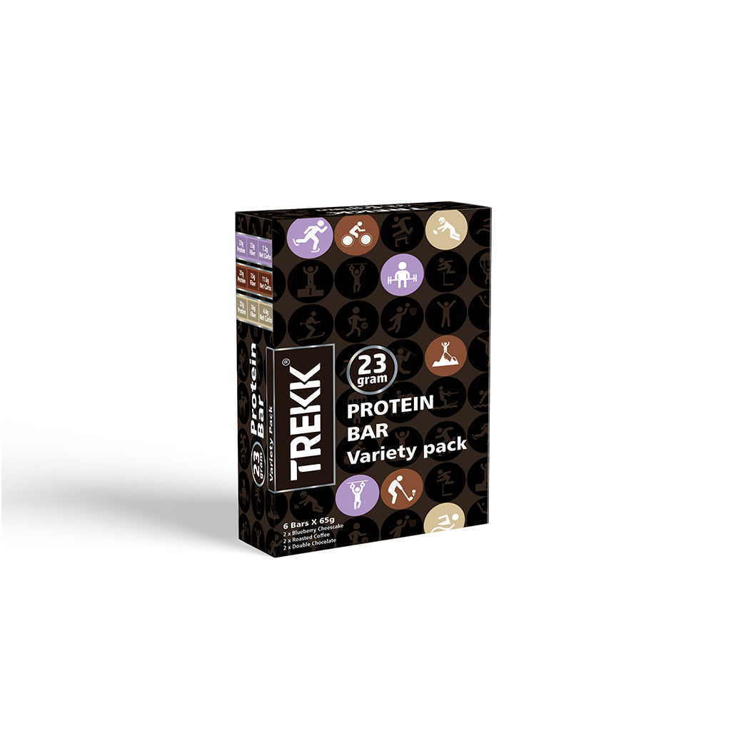 Variety Pack 65g - Roasted Coffee, Double Chocolate, Blueberry Cheesecake - Pack of 6 Bars