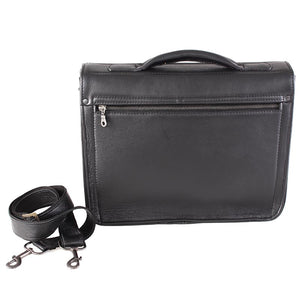 Classic 13-inch single front satchel pocket notebook bag - kingkong-leather