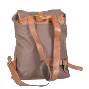 Classic Campus Canvas and Leather Backpack - kingkong-leather