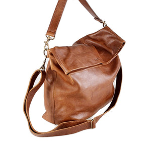 Elegant Soft Foldover Tote Handbag - kingkong-leather