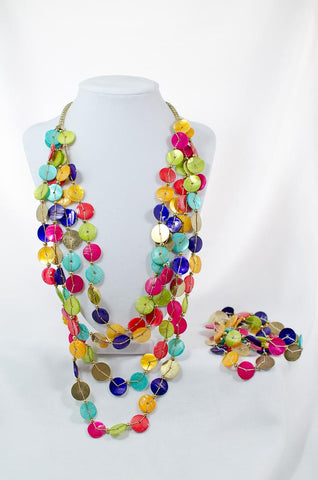 Rainbow Shell Necklace Set