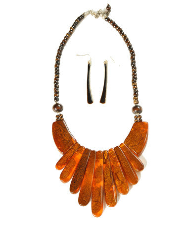 Amber & Wood Bead Necklace Set