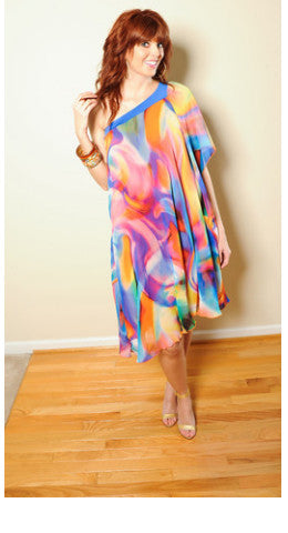Sunset Chiffon Shift Dress
